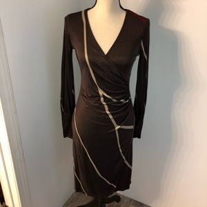 ISSA London silk fitted faux wrap dress Size 8